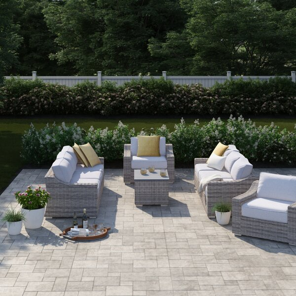 Dayse 9 Piece Rattan Sectional Seating Group with Cushions by Sol 72 Outdoor