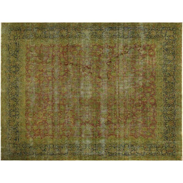 One-of-a-Kind Super Distressed Over Dyed Hand-Knotted Wool Rust/Blue Area Rug by Bloomsbury Market