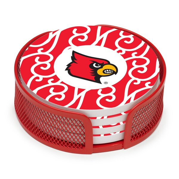 5 Piece University of Louisville Collegiate Coaster Gift Set by Thirstystone