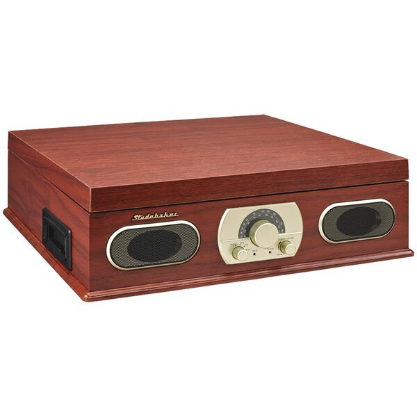 Wooden Turntable with Am/Fm Radio and Cassette Pla