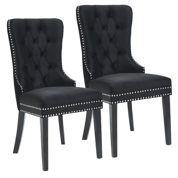 Melendy Velvet Side Upholstered Dining Chair (Set of 2) by House of Hampton