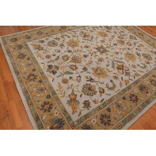 Ellington Circle Traditional Persian Hand Tufted 8 X 10 Wool Green Gray Blue Area Rug