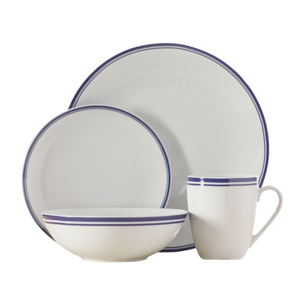 Wayfair Basics 16 Piece Striped Porcelain Dinnerware Set, Service for 4 by Wayfair Basics™