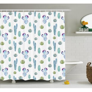 Reviews Zelida Blue Botanic Desert Flowers With Spikes Pattern Types of Desert Cactus Art Decor Shower Curtain ByEbern Designs
