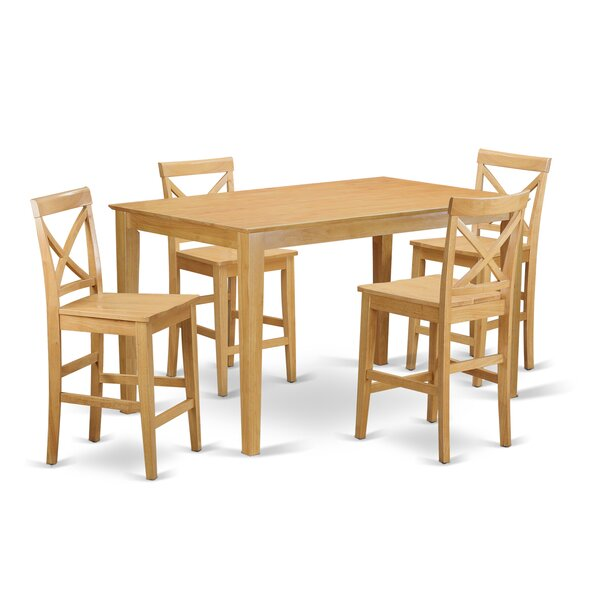 Smyrna 5 Piece Counter Height Dining Set by Charlton Home
