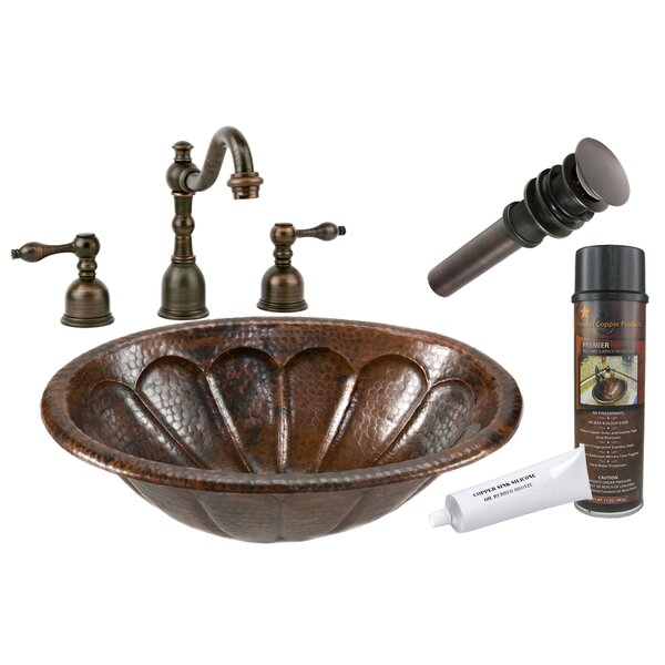 Sunburst Metal Oval Drop-In Bathroom Sink with Faucet by Premier Copper Products