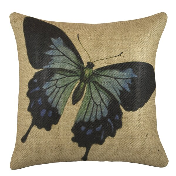 Butterfly Burlap Throw Pillow by TheWatsonShop