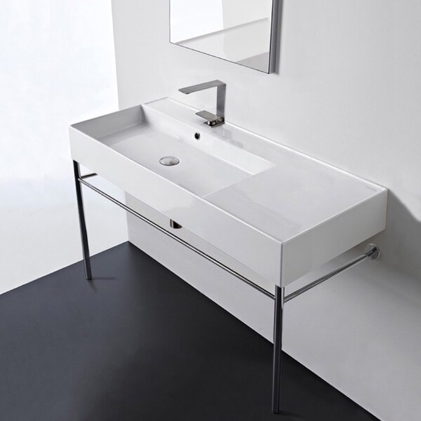 Ceramic 40'' Console Bathroom Sink with Overflow by Scarabeo by Nameeks