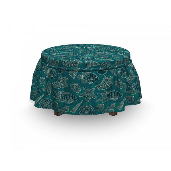 Sea Shells Ocean Line Design 2 Piece Box Cushion Ottoman Slipcover Set By East Urban Home