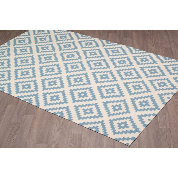 Lombard Kilim Reversible Hand-Woven Wool Ivory/Blue Area Rug by Brayden Studio