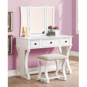 2 Piece Edna Vanity   Stool SetBedroom   Makeup Vanities   Joss   Main. White Metal Vanity Set. Home Design Ideas