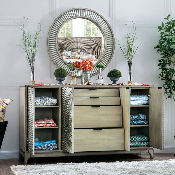 Rusnak 4 Drawer Double Dresser with Mirror by Bungalow Rose