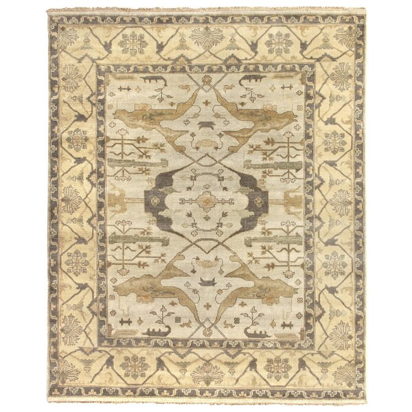 Oushak Hand Woven Wool Powder Blue/Beige Area Rug by Exquisite Rugs