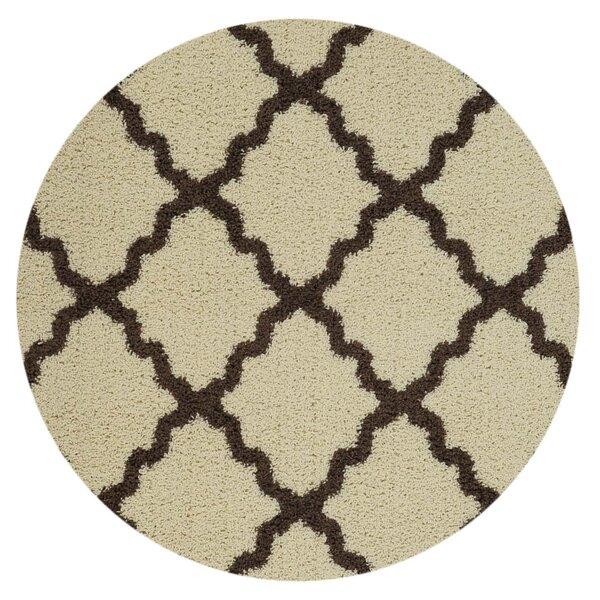 Burns Moroccan Trellis Contemporary Ivory/Brown Shag Area Rug by Zipcode Design