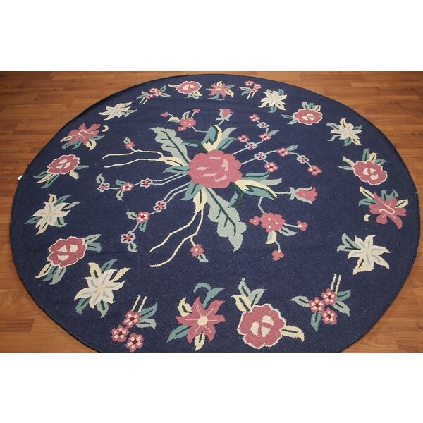 One-of-a-Kind Hedvige Dhurry Kilim Reversible Hand-Woven Navy Area Rug by Astoria Grand
