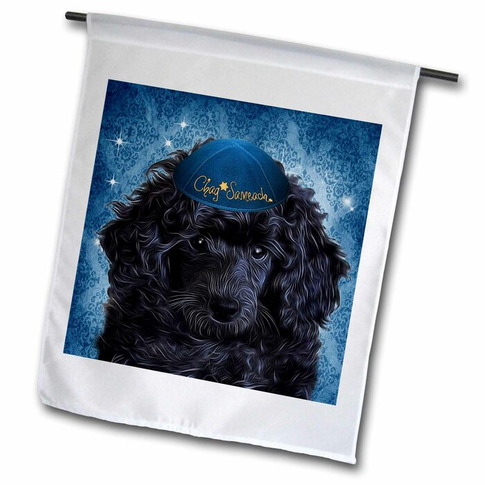 Cute Toy Poodle Puppy In A Yamaka For Hanukkah In Polyester Garden Flag