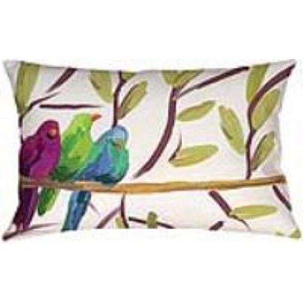 Flocked Together Birds Lumbar Indoor/Outdoor Throw Pillow by Manual Woodworkers & Weavers