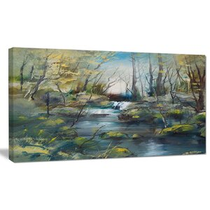 'Brook and Rocks Oil Painting' Painting Print on Wrapped Canvas by Design Art