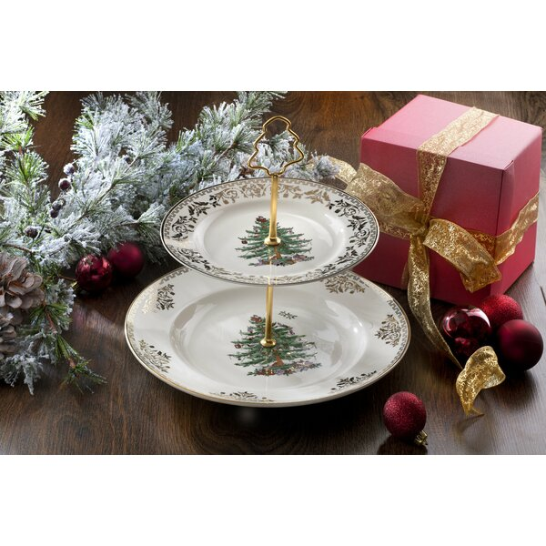 Christmas Tree Gold Cake Stand by Spode
