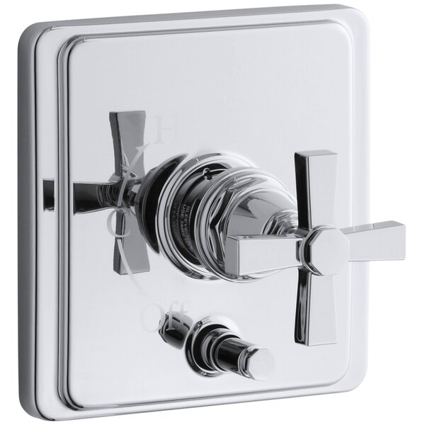 Pinstripe Rite-Temp Pressure-Balancing Shower Faucet with Diverter and Plain Cross Handle by Kohler