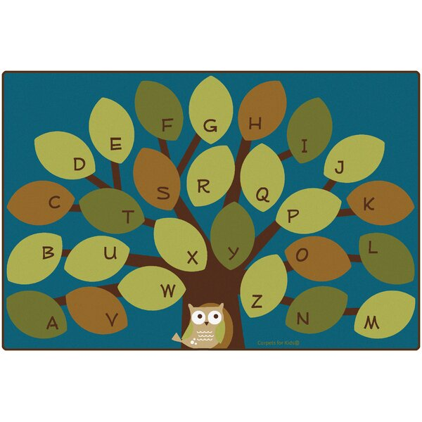 Owl-Phabet Tree Teal Area Rug by Carpets for Kids Premium Collection