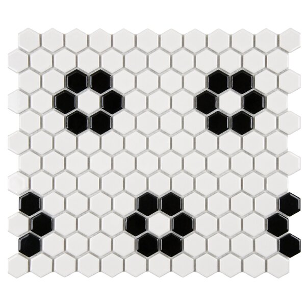 Retro 1 x 1 Porcelain Mosaic Tile in Matte Black/White by EliteTile