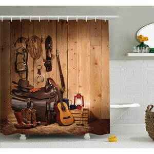 Western American Texas Style Country Music Guitar Cowboy Boots Folk Culture Shower Curtain Set