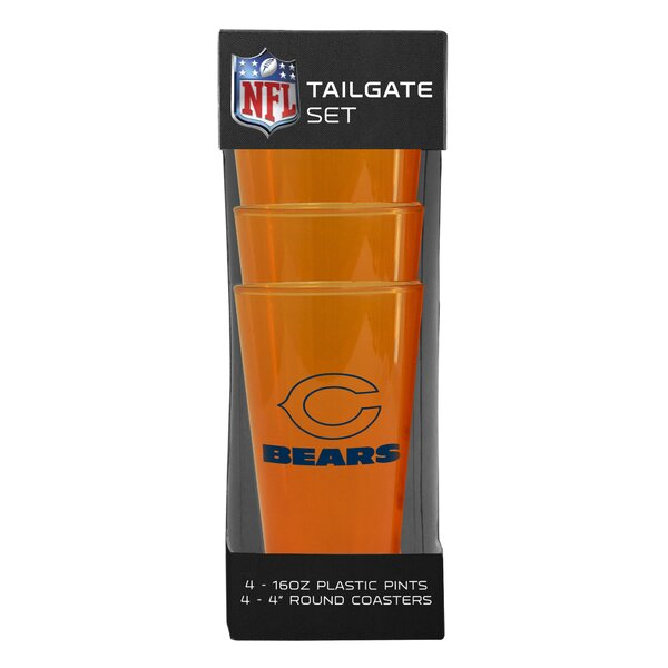 NFL 16 oz. Plastic Pint Glass (Set of 4) by Boelter Brands