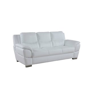 Genuine White Leather Sofa | Wayfair