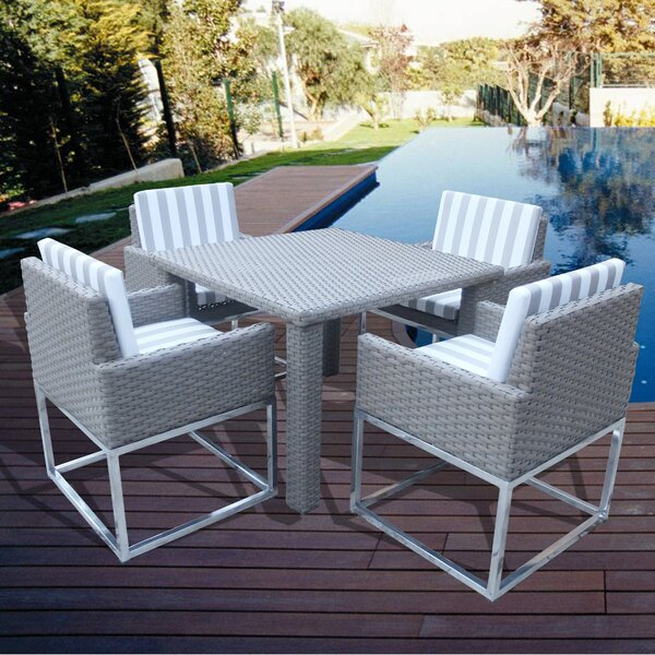 Leonore 5 Piece Dining Set with Cushions by Orren Ellis