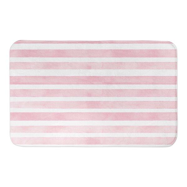 Karter Watercolor Stripes Rectangle Non-Slip Striped Bath Rug