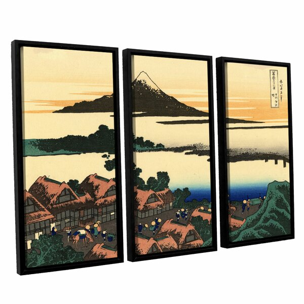 Dawn At Isawa in the Kai Province by Katsushika Hokusai 3 Piece Framed Painting Print Set by ArtWall