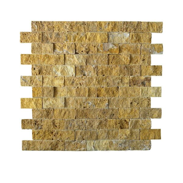 1 x 2 Natural Stone Mosaic Tile in Gold by QDI Surfaces