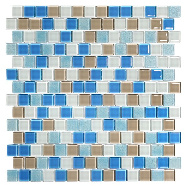 Tides 0.75 x 0.75 Glass Mosaic Tile in Hamptons by Kellani