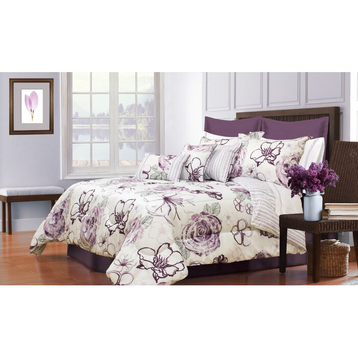 decorative bed comforter set pc cameron grey