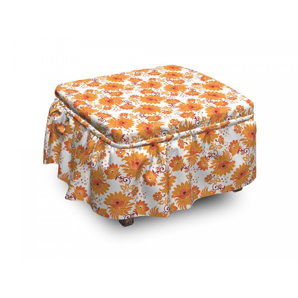 Old Damask Traditional 2 Piece Box Cushion Ottoman Slipcover Set By East Urban Home