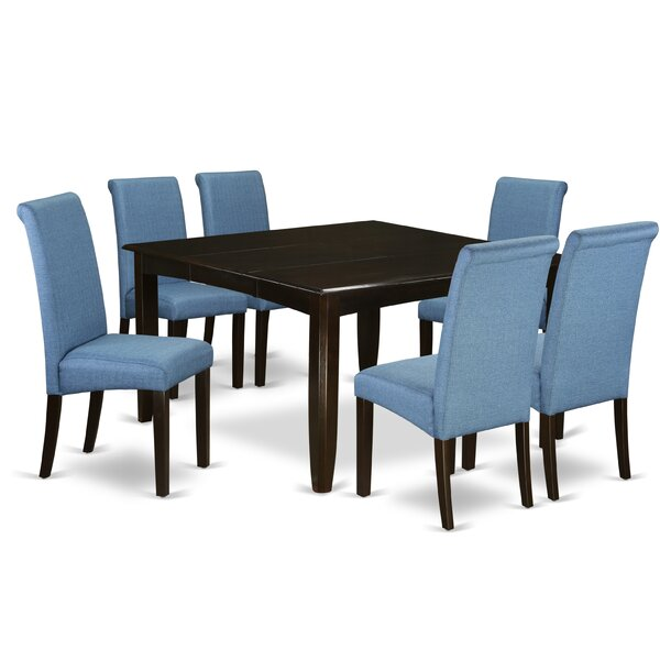 Marlene Square Kitchen Table 7 Piece Extendable Solid Wood Dining Set by Winston Porter