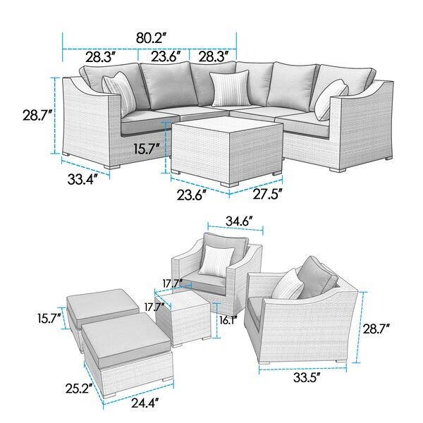 Hugh 11 Piece Sectional Seating Group with Cushions by Rosecliff Heights