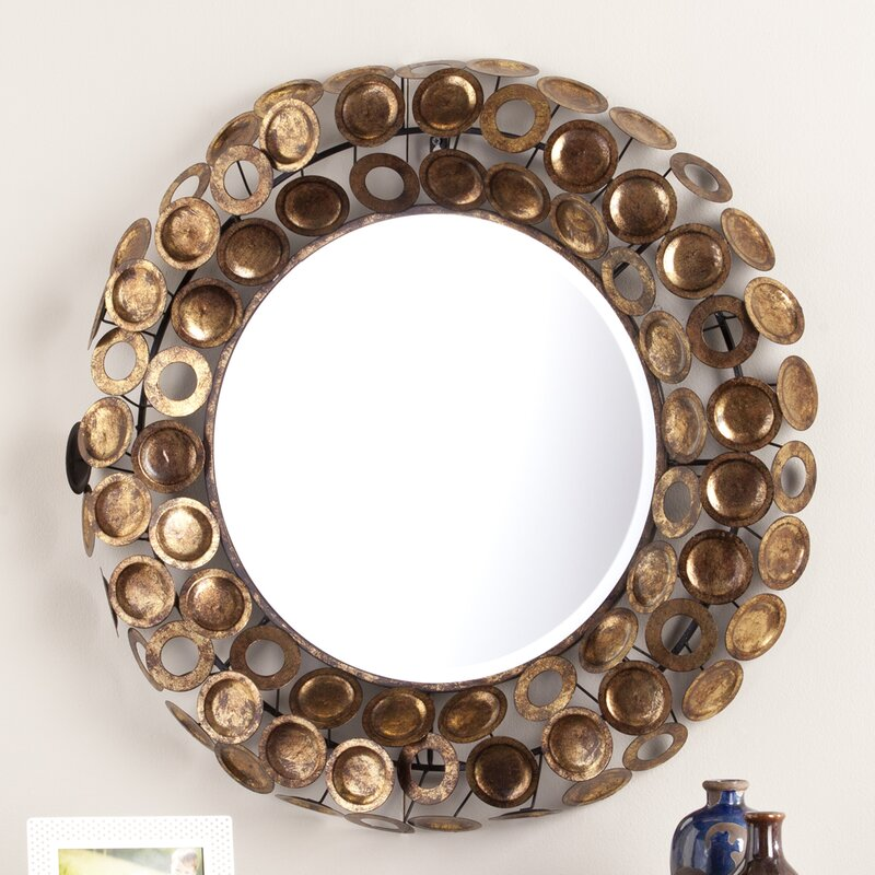 Round Galvanized Burnished Gold and Copper Decorative Wall Mirror ...