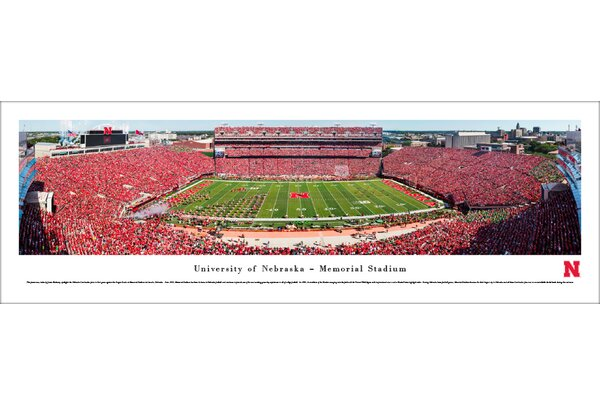NCAA Nebraska Cornhuskers Football 50 Yard Line Photographic Print by Blakeway Worldwide Panoramas, Inc