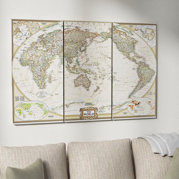 National Geographic World Map Graphic Art Print Multi Piece Image On Wrapped Canvas By Astoria Grand.
