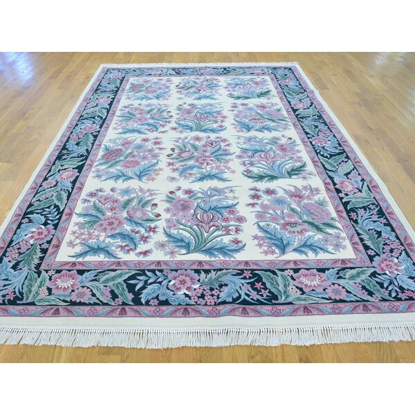 One-of-a-Kind Breaux Sarouk Hand-Knotted Ivory Wool Area Rug by Isabelline