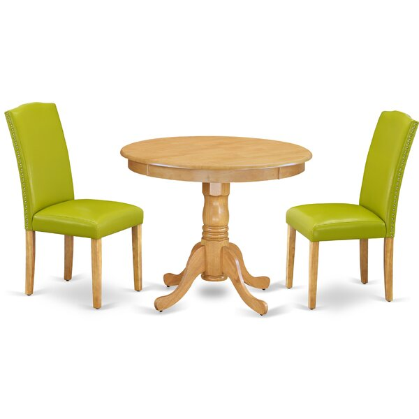 Carleen 3 Piece Solid Wood Dining Set by Alcott Hill Alcott Hill