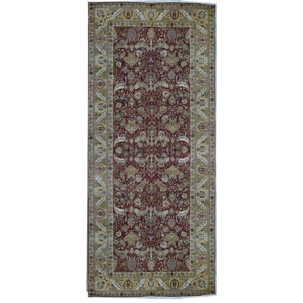 Hand-Knotted Wool Wine/Camel Rug
