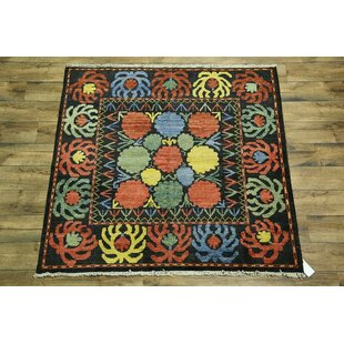 One-of-a-Kind Kelsi Oriental Hand-Knotted 6' 3'' X 6' 0'' Wool Black/Red/Green Area Rug By Bloomsbury Market
