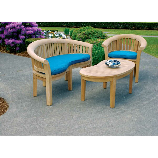 Half Moon 3 Piece Teak Conversation Set with Cushions by Jewels of Java