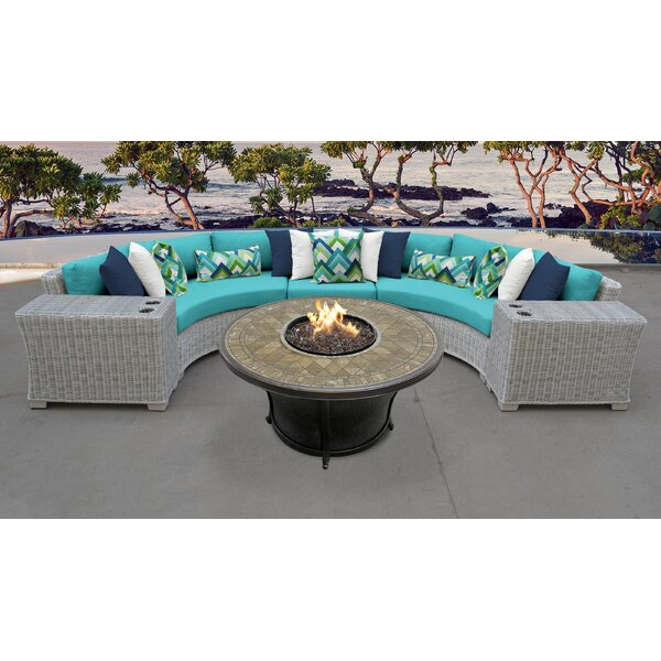 Arora 6 Piece Rattan Sectional Seating Group with Cushions by Latitude Run