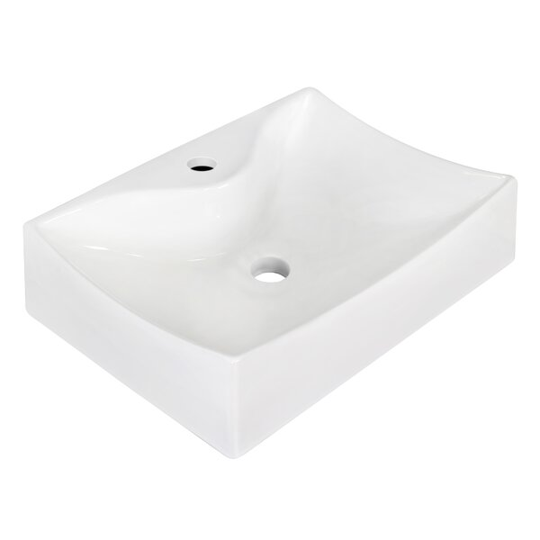 Ceramic 22 Wall Mount Bathroom Sink with Faucet and Overflow
