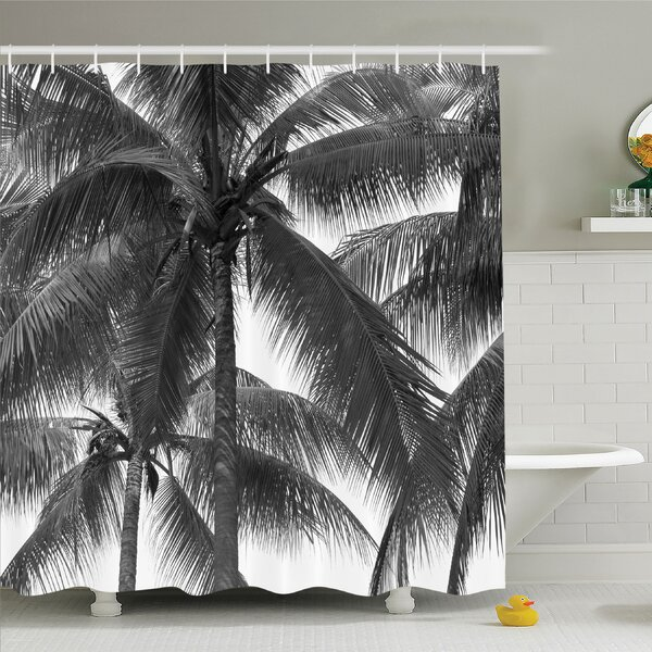 Palm Tree Silhouette Exotic Plant on Thema Foliages Relax in Nature Image Shower Curtain Set by Ambesonne
