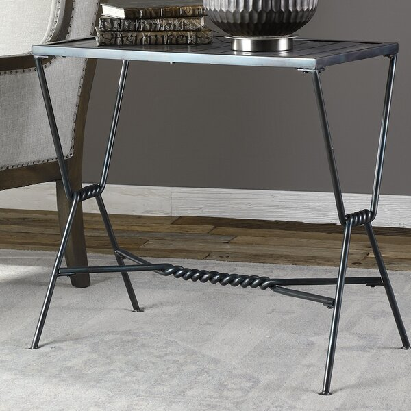 Taya Aged Steel End Table by Longshore Tides